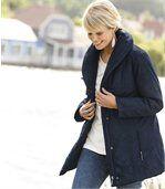 Women's Blue Parka Coat - Shawl Collar preview2