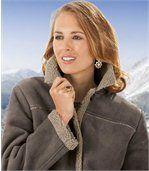 Semišový kabát zateplený umělým beránkem preview2