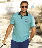 Pack of 2 Men's Nautical Polo Shirts - Turquoise White preview3