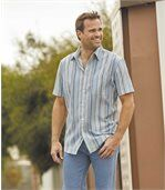 Men's Light Blue Striped Crepe Shirt preview3