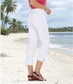 Women's White Cropped Stretch Trousers