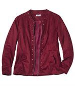 Women's Burgundy Faux-Suede Jacket preview2