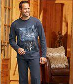 Pyjama aus Baumwolle mit Wolf-Motiv