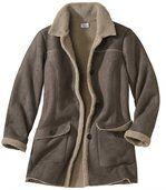 Semišový kabát zateplený umělým beránkem preview3