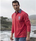 Men's Coral Long Sleeve Crest Motif Polo Shirt