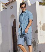 Men's Blue Waffle-Effect Cotton Shirt preview1
