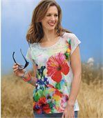 Women's White Floral Print T-Shirt preview1
