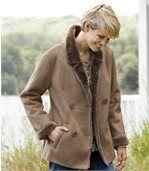 Women's Brown Faux Suede Coat with Faux Fur Trim preview2