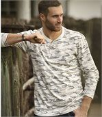 Henley-Shirt mit Camouflage-Motiv preview1