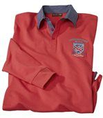 Men's Coral Long Sleeve Crest Motif Polo Shirt preview2