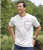 Pack of 3 Men's Button Neck T-Shirts - Khaki Navy White preview4