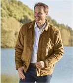 Men's Tan Quilted Faux Suede Jacket