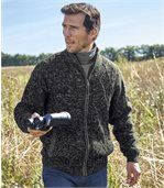 Men's Fleece-Lined Knitted Jacket - Dark Grey Marl