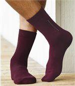 Pack of 4 Pairs of Men's Patterned Socks - Black Grey Navy Burgundy