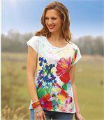 Women's White Floral Print T-Shirt preview2