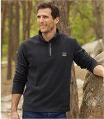 Pack of 2 Men's Microfleece Jumpers - Black Tan preview3