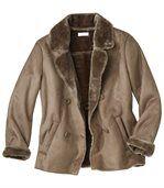 Zimní sako z umělého semiše zateplené umělou kožešinou preview3