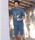 Men's Blue Short Pyjama Set preview1