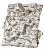 Men's Camouflage Print Scoop-Neck Top