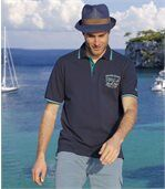 Pack of 2 Men's Piqué Polo Shirts - Navy Turquoise preview3