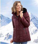 Pikowana kurtka zimowa z kapturem z imitacją futerka