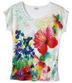 Tričko spotlačou ibištekových kvetov