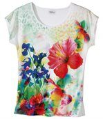 Women's White Floral Print T-Shirt preview3