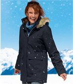 Women's Navy Blue Microtech Hooded Parka Coat preview1