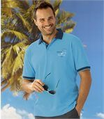 Pack of 2 Men's Piqué Polo Shirts - Turquoise Navy