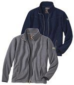 Pack of 2 Men's Microfleece Jackets - Black Blue  preview1