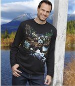 Men's Black Long Sleeve Top - Bear Print  preview1