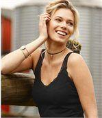 Lot de 2 Tops sans manches Femme - Noir Rose - Dentelle Confort preview2