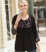 Women's Black Patterned Blouse preview1