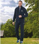 Men's Navy Blue Fleece-Lined Tracksuit