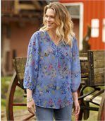 Mousselin-Bluse mit blumigem Muster preview1