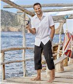 Pack of 2 Men's Crepon Summer Shirts - White Turquoise preview2