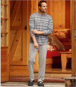 Sivé pruhované pyžamo preview2