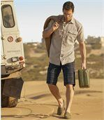 Men's Anthracite Checked Cargo Shorts