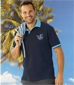 Pack of 2 Men's Piqué Polo Shirts - Turquoise Navy preview3