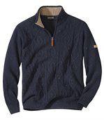Pullover mit Zopfmuster und RV-Kragen preview1