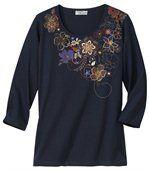 T-shirt met herfstbloemen