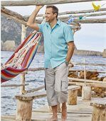Pack of 2 Men's Crepon Summer Shirts - White Turquoise preview3