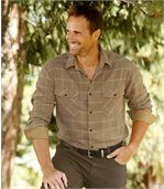 Men's Beige Checked Flannel Shirt – Quebec Trip