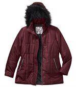 Prešívaná bunda skapucňou s umelou kožušinou