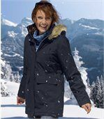 Women's Navy Blue Microtech Hooded Parka Coat preview3