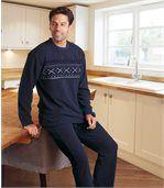 Flísové pyžamo so žakárovým vzorom preview1