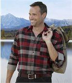 Men's Checked Flannel Shirt – Red Black Grey preview1