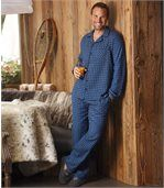 Men's Blue Flannel Pyjamas - Checked preview1