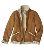 Women's Faux Suede Jacket with Sherpa Lining