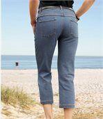 Women's Blue Denim Three-Quarter Length Trousers